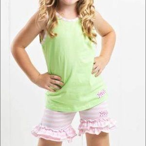 Ruffle Girl Matching Sets - Ruffle Girl Green & Light Pink/White Short Set